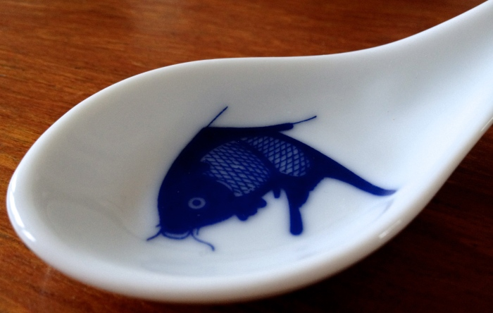 Chinese soup spoon with fish design